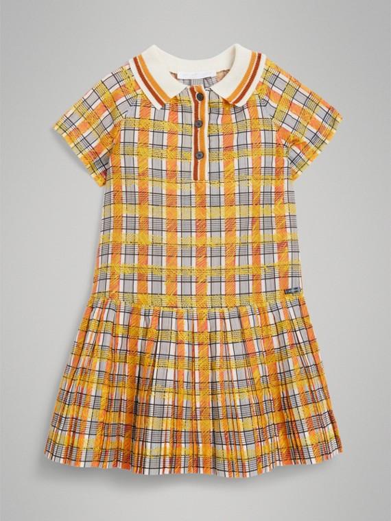 스크리블 체크 칼라 데이 드레스 (브라이트 옐로)