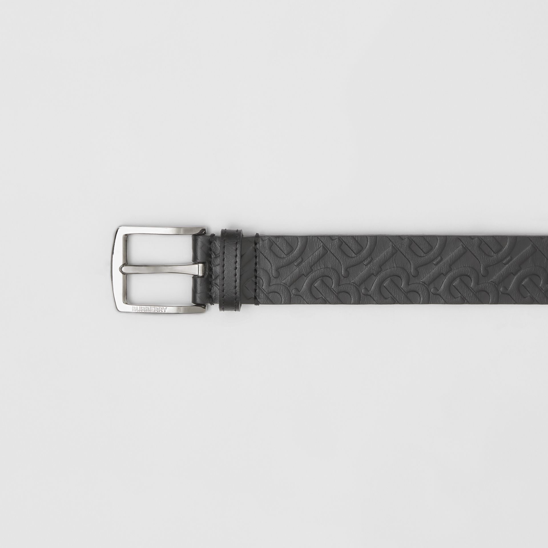 Monogram Leather Belt in Black - Men | Burberry - gallery image 1