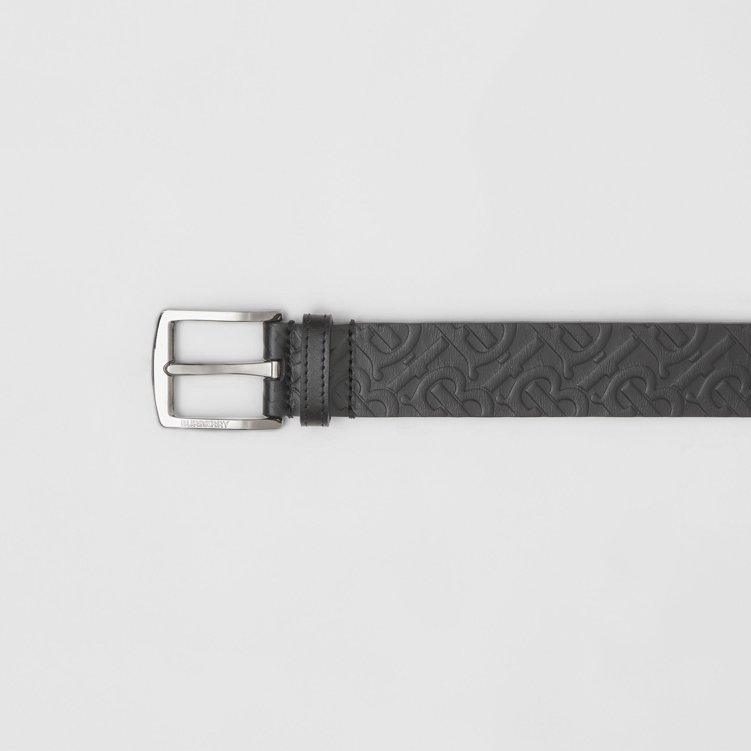 Monogram Leather Belt in Black - Men | Burberry - 2