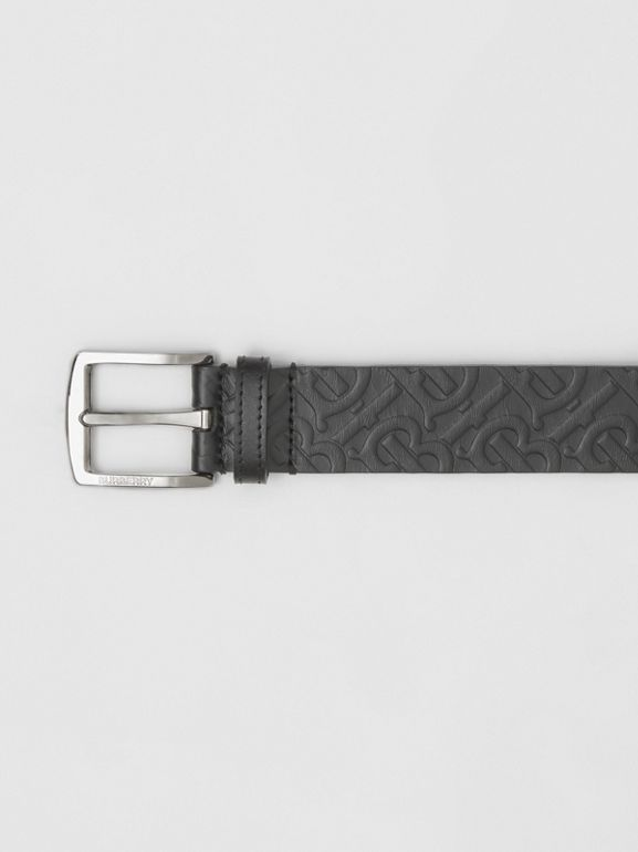 Monogram Leather Belt in Black - Men | Burberry - cell image 1