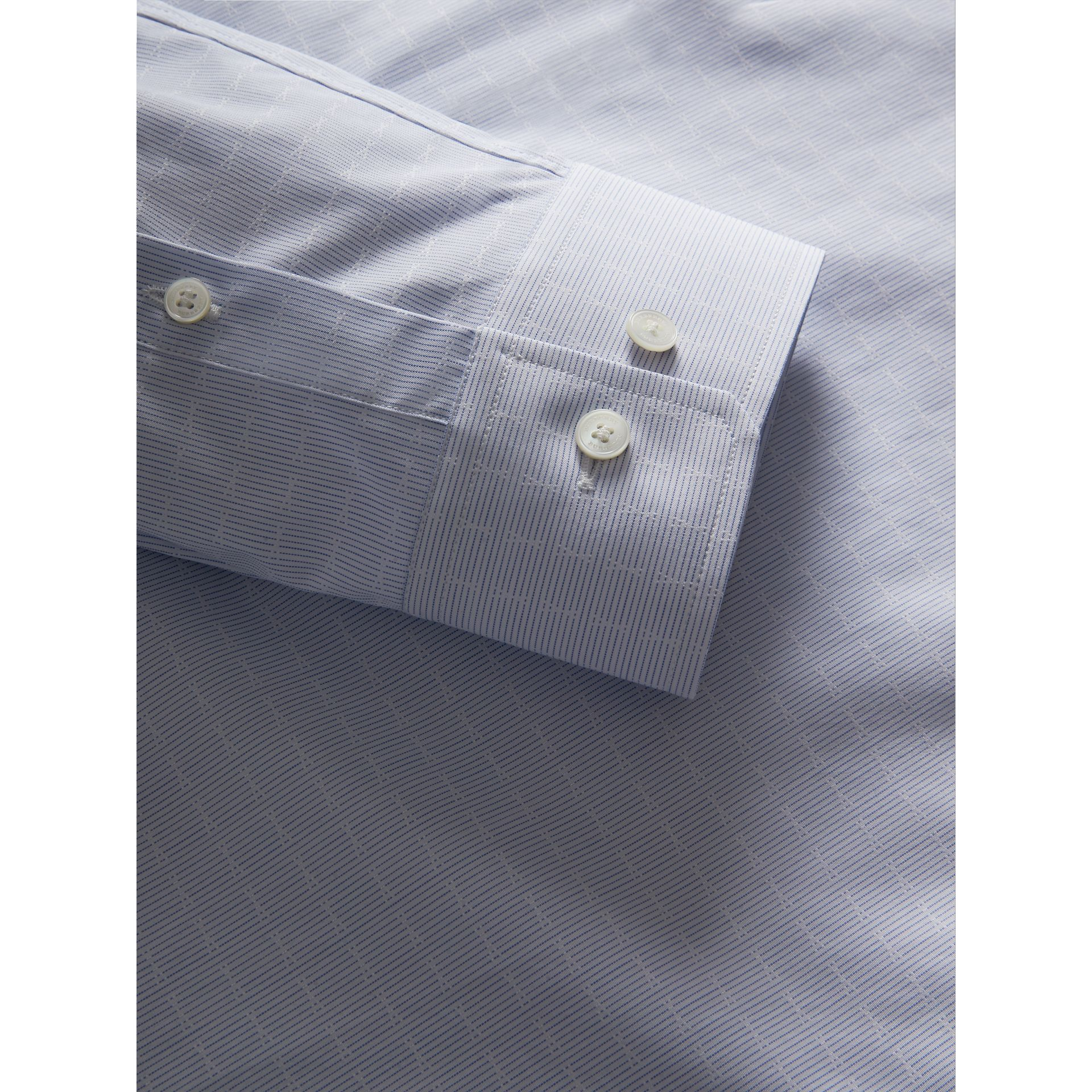 Modern Fit Geometric Dobby Cotton Shirt in Pale Blue - Men | Burberry - gallery image 1