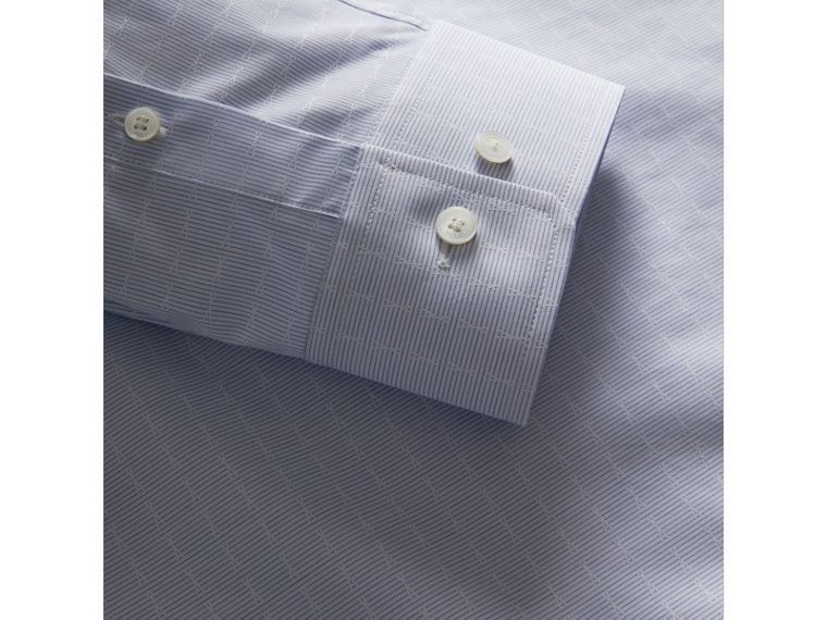 Modern Fit Geometric Dobby Cotton Shirt in Pale Blue - Men | Burberry - cell image 1