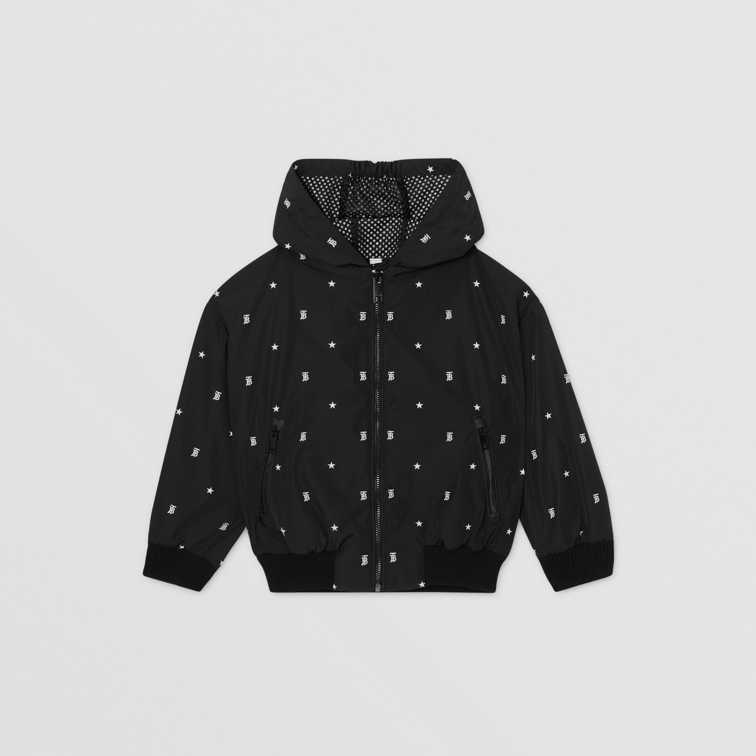 Star and Monogram Motif Lightweight Hooded Jacket in Black | Burberry - 1