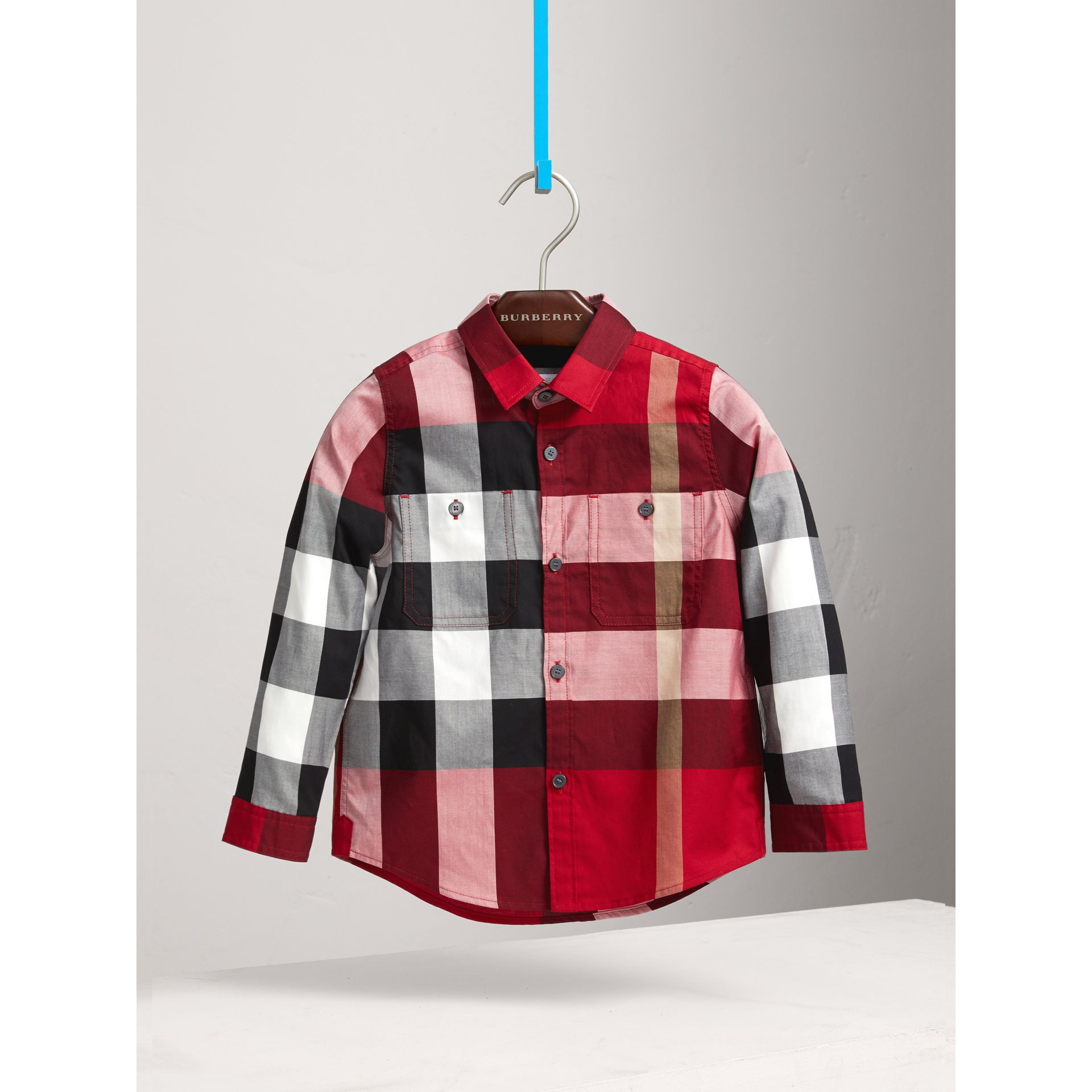 Check Cotton Shirt in Parade Red - Boy | Burberry - gallery image 3
