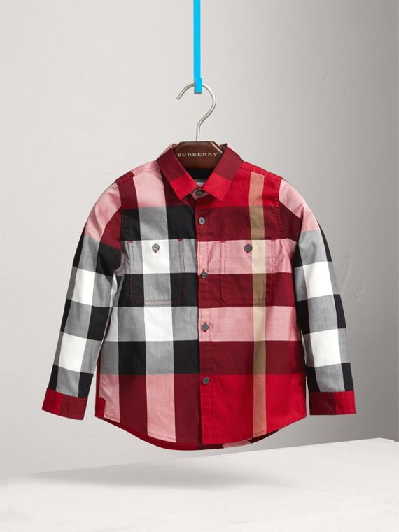 Check Cotton Shirt in Parade Red - Boy | Burberry - cell image 2