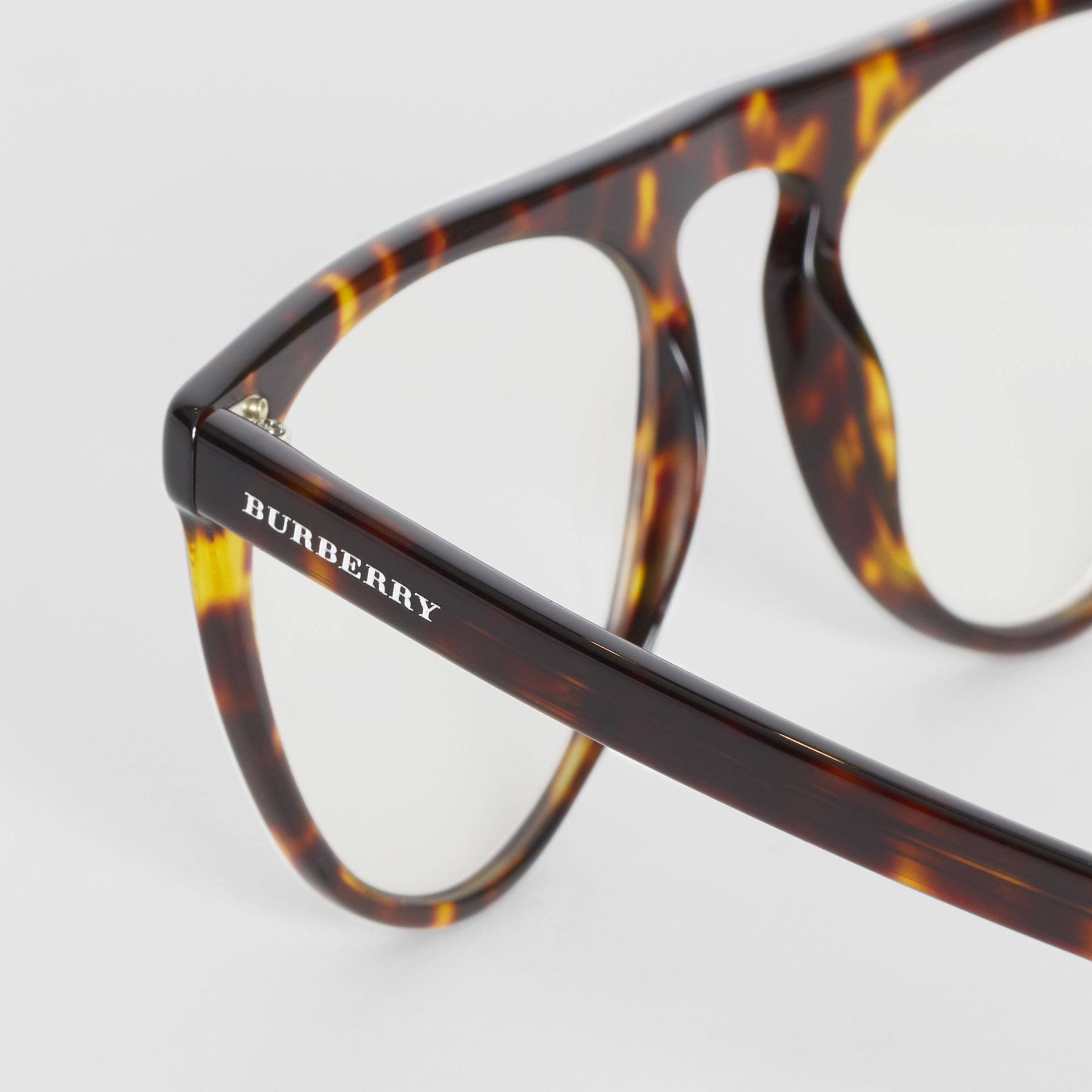 Keyhole D-shaped Optical Frames in Tortoise Shell - Men | Burberry United Kingdom - gallery image 1