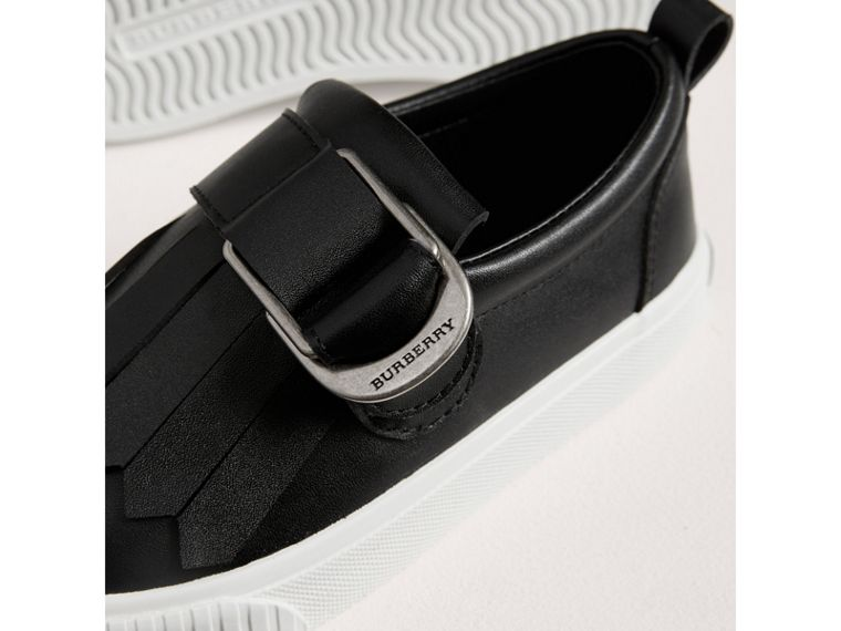 Fringed Buckle Detail Sneakers in Black | Burberry United Kingdom - cell image 1