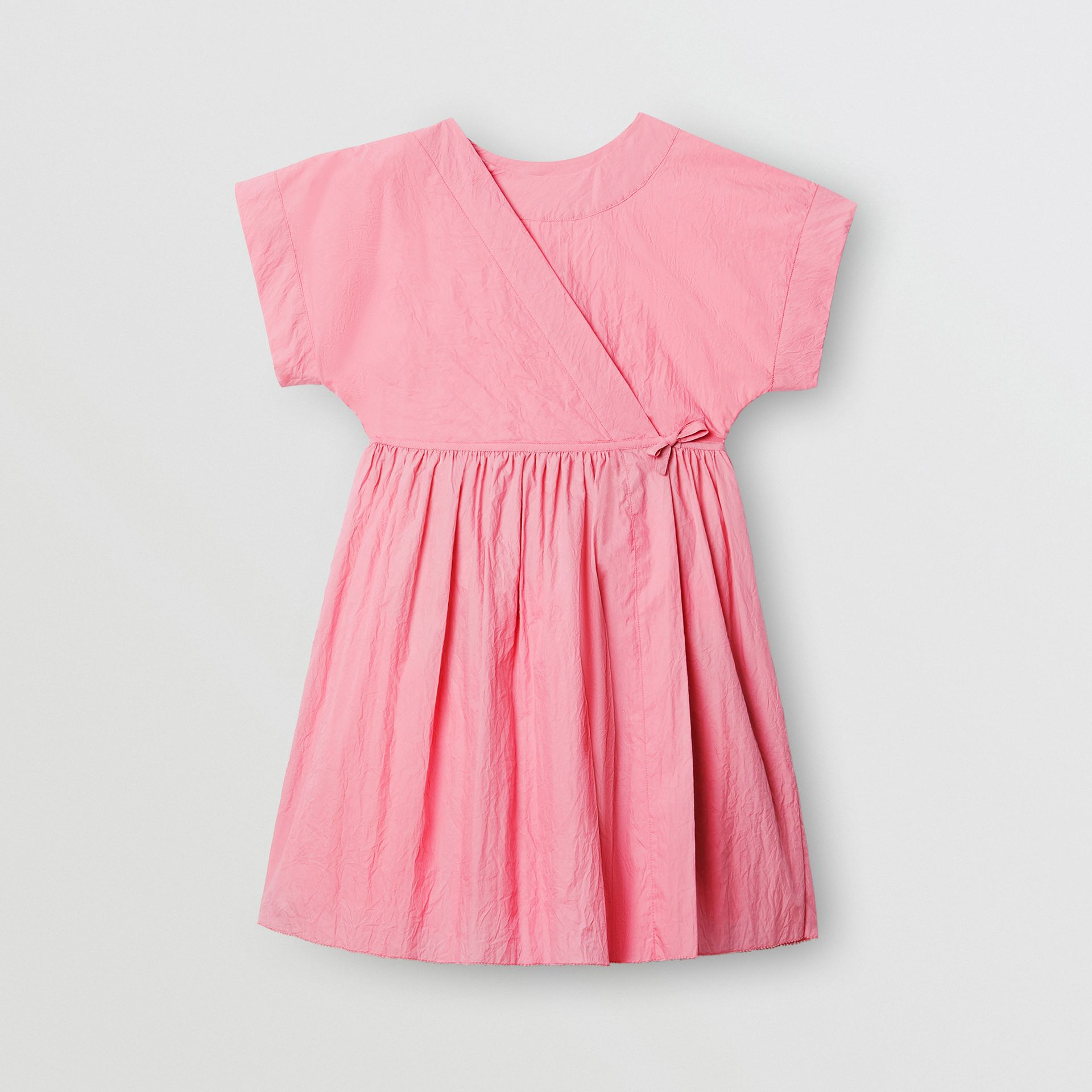 Cotton Blend Wrap Dress in Bright Rose | Burberry United Kingdom - gallery image 0