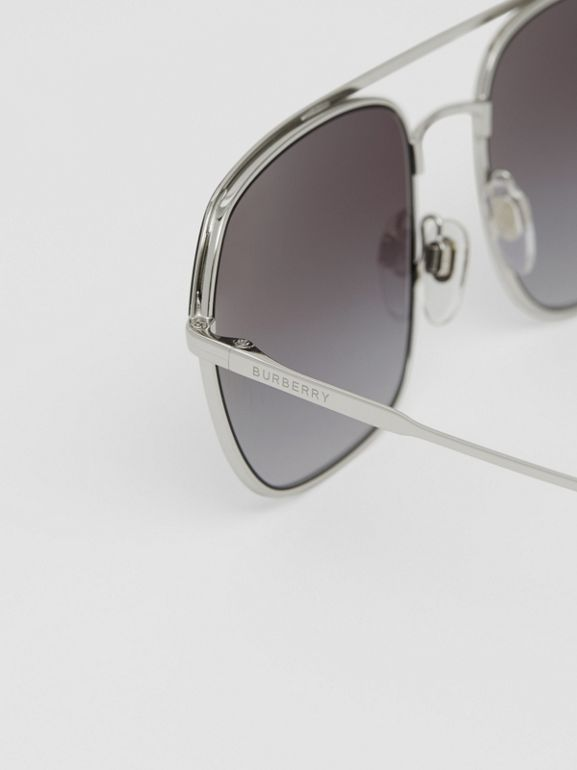 Square Pilot Sunglasses in Black - Men | Burberry - cell image 1
