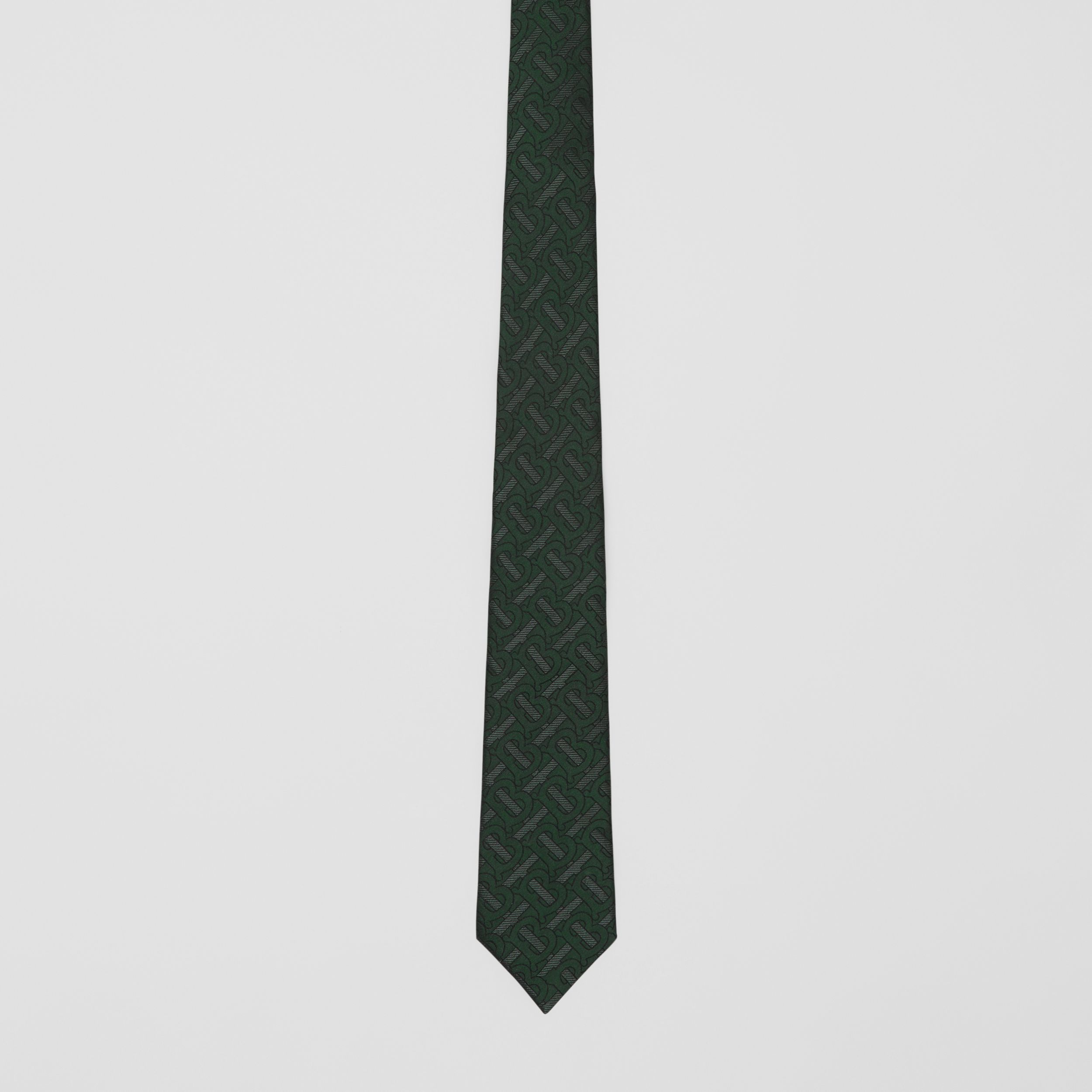 Classic Cut Monogram Silk Blend Jacquard Tie in Dark Forest Green - Men | Burberry - 4