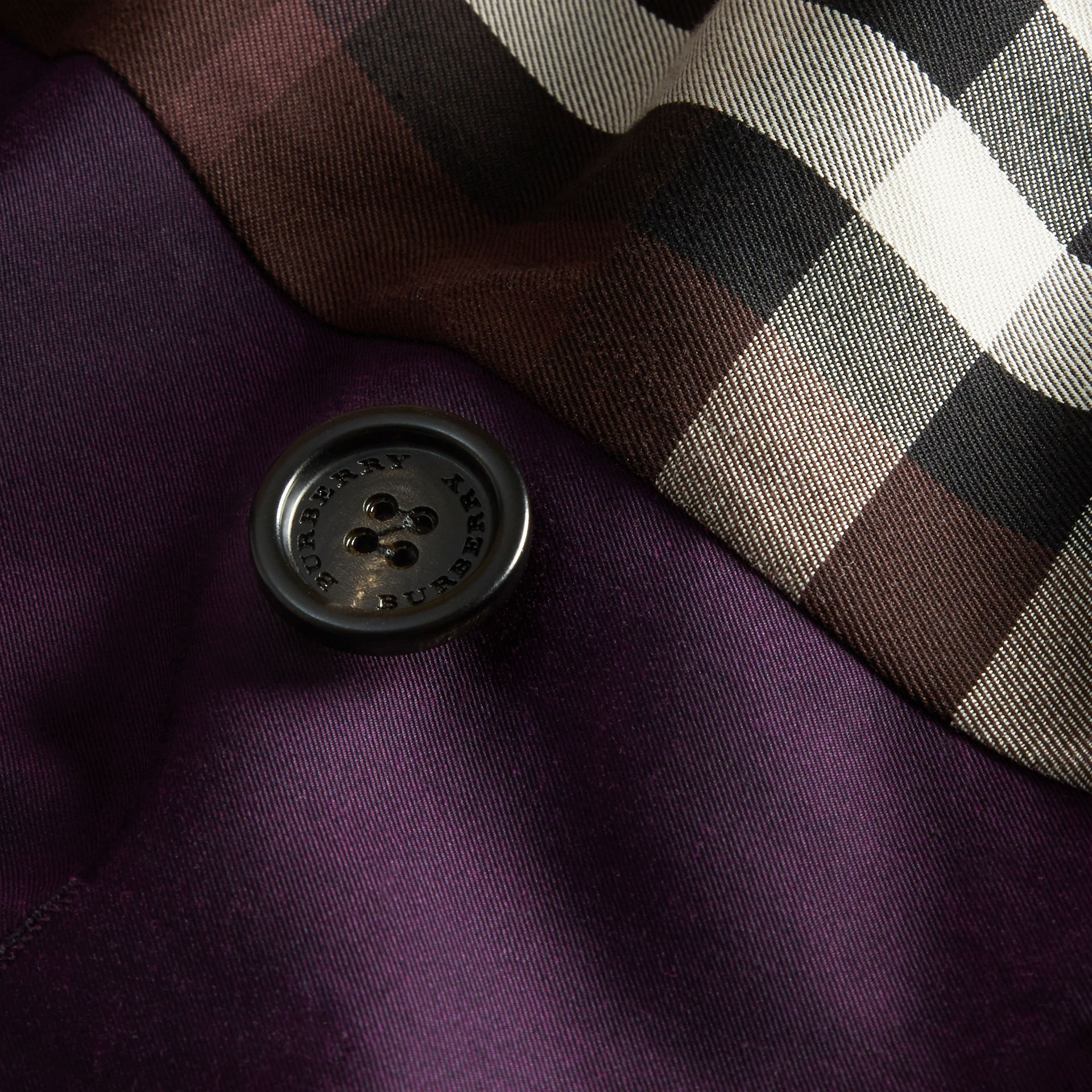 Dark purple Cotton Gabardine Trench Coat Dark Purple - immagine della galleria 2