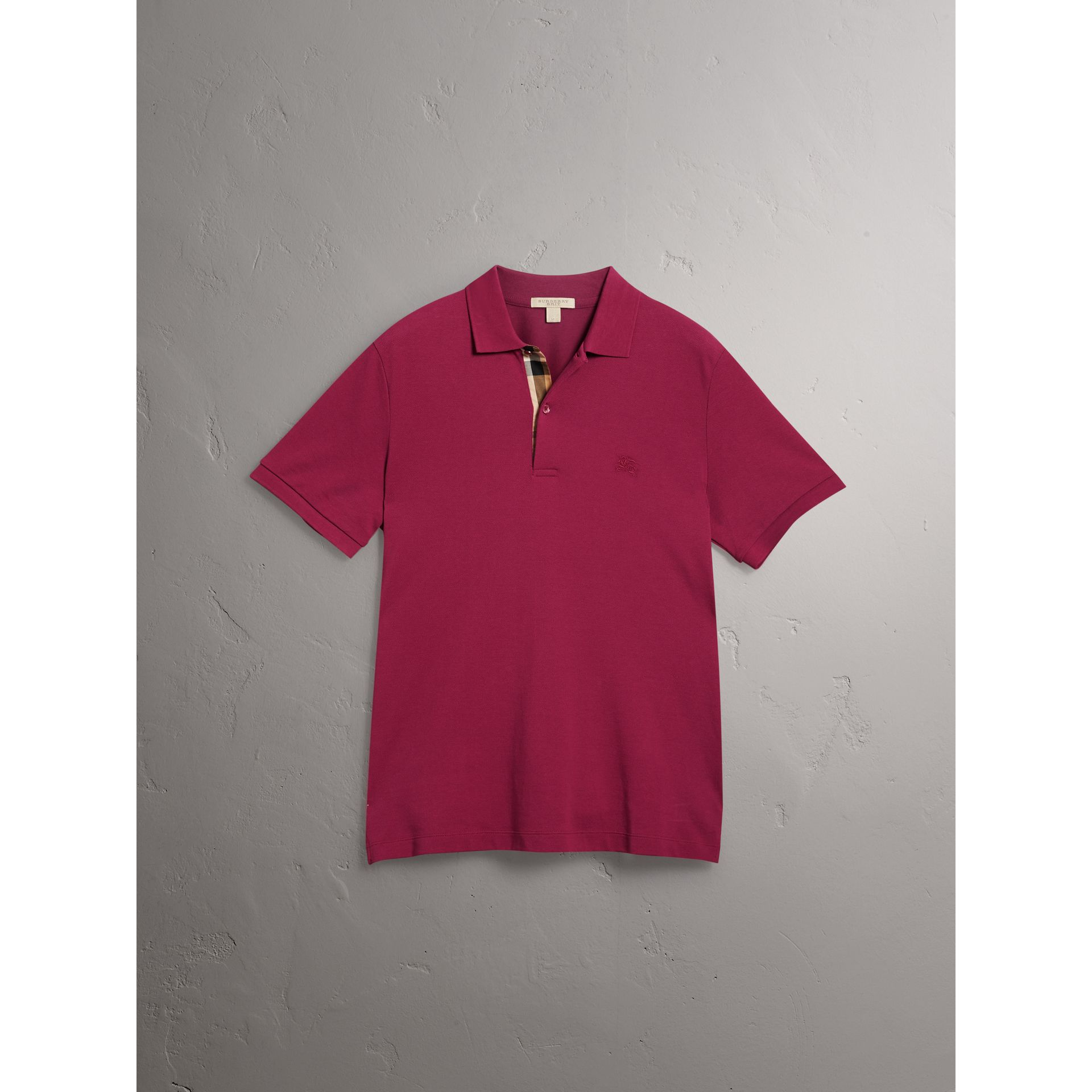 Check Placket Cotton Piqué Polo Shirt in Raspberry Sorbet - Men | Burberry Australia - gallery image 4