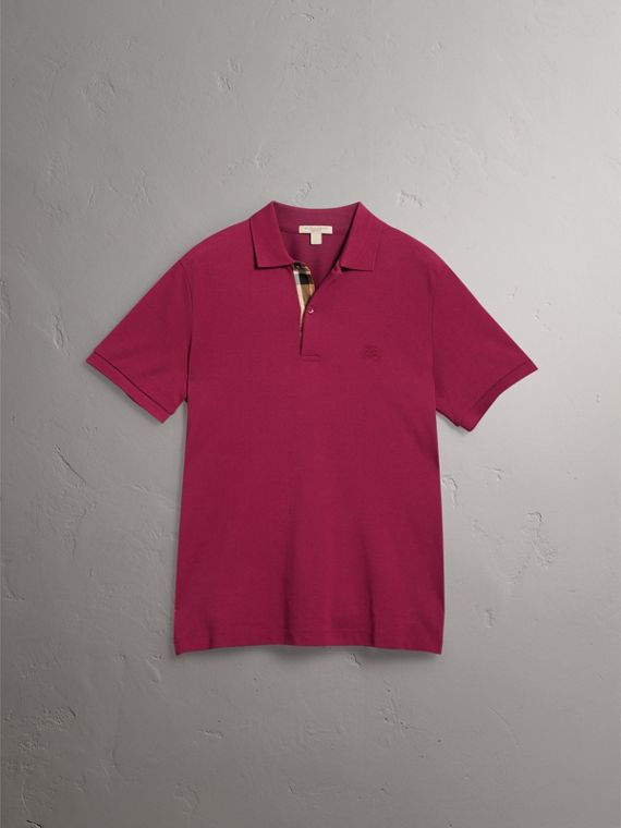 Check Placket Cotton Piqué Polo Shirt in Raspberry Sorbet - Men | Burberry Australia - cell image 3