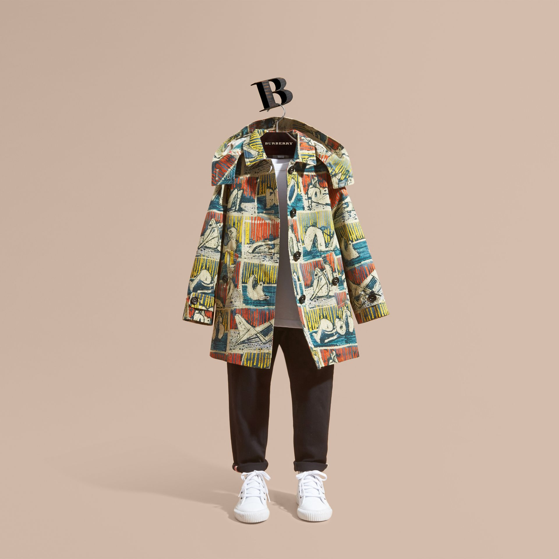 Reclining Figures Print Hooded Cotton Trench Coat - gallery image 1