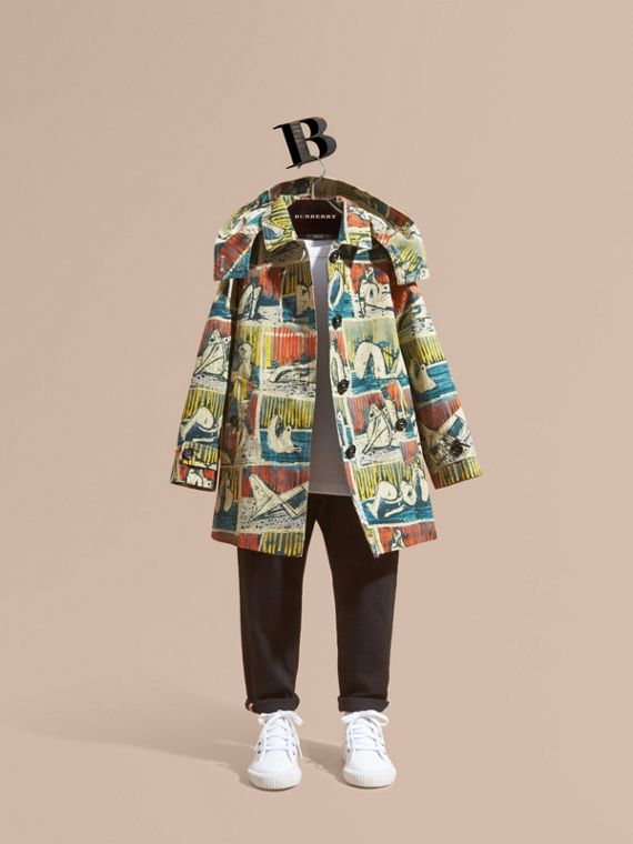 Reclining Figures Print Cotton Trench Coat with Detachable Hood