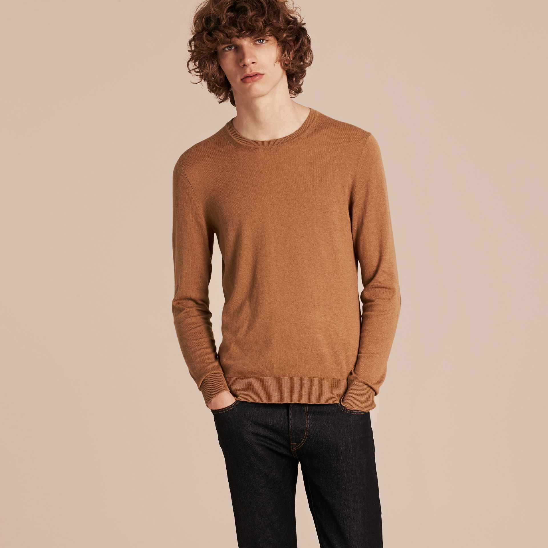 Camel Check Trim Cashmere Cotton Sweater Camel - gallery image 6