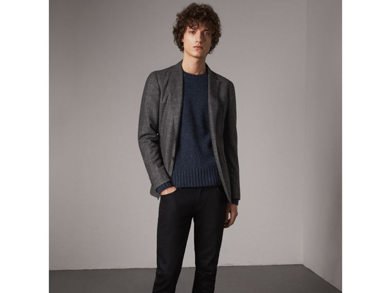 Flecked Wool Cashmere Mohair Sweater in Navy - Men | Burberry - cell image 4