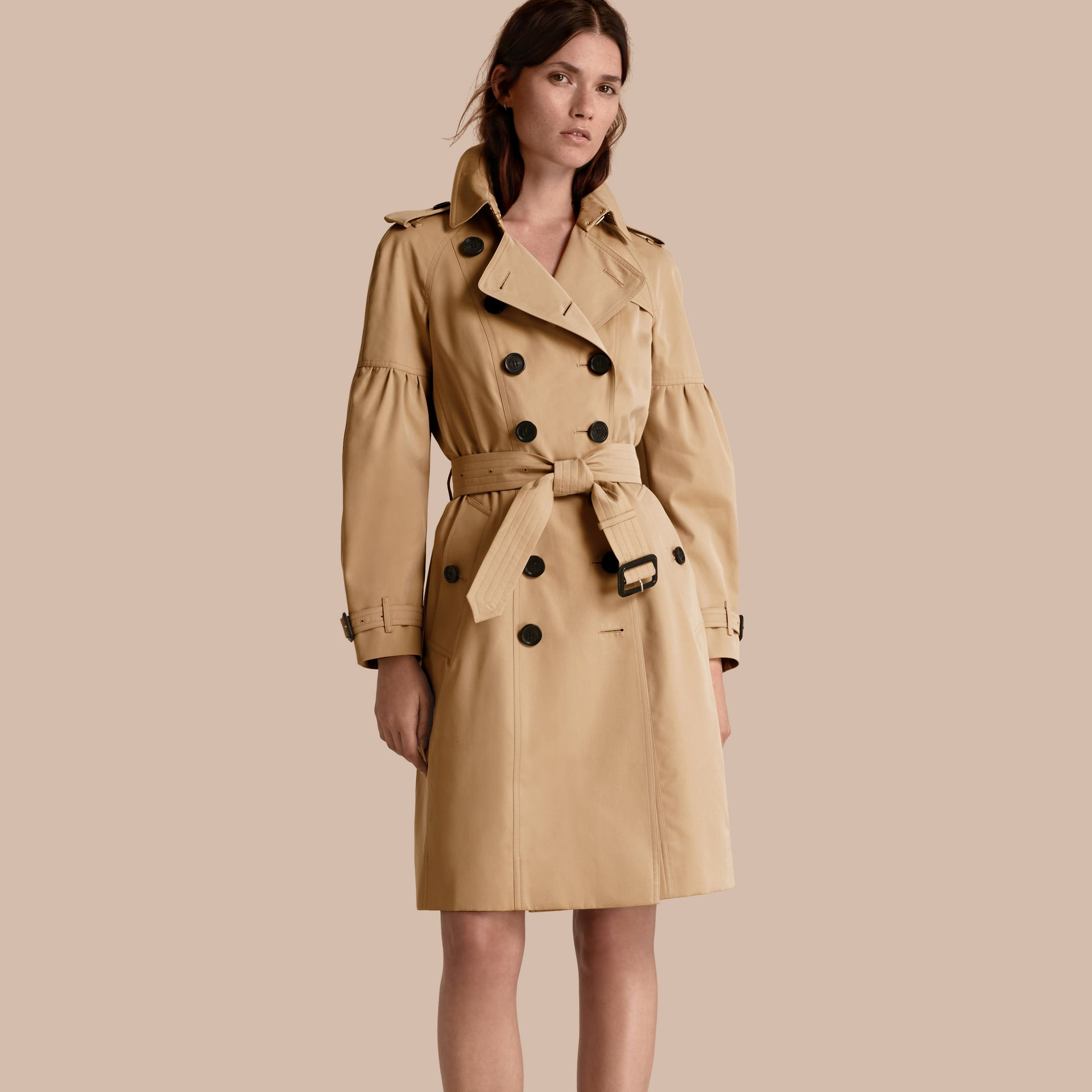 Honey Cotton Gabardine Trench Coat with Puff Sleeves Honey - gallery image 1