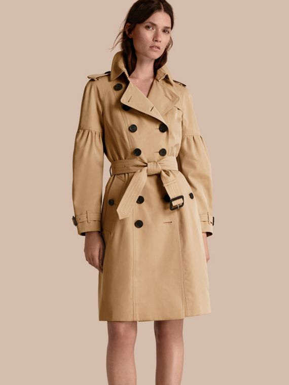 Cotton Gabardine Trench Coat with Puff Sleeves in Honey