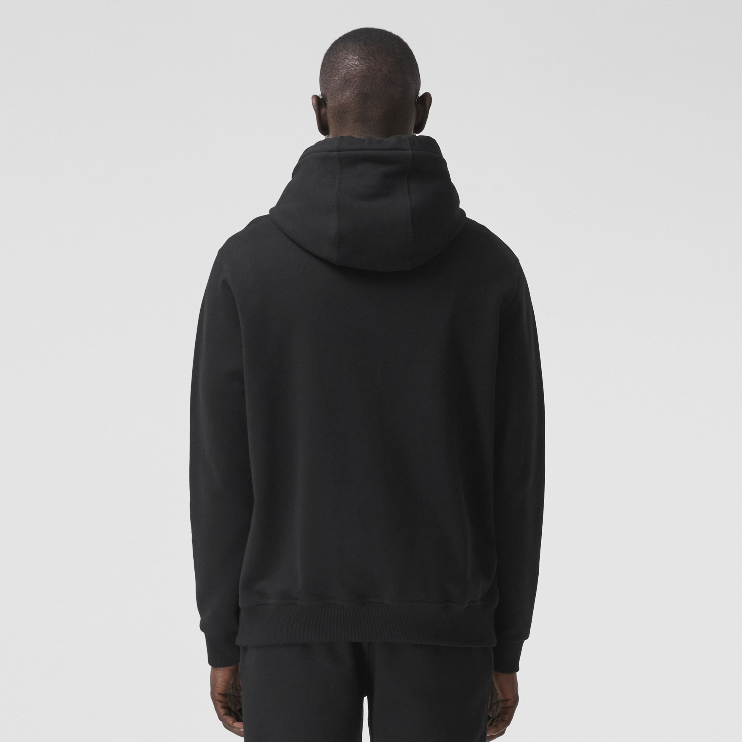 Monogram Motif Cotton Hoodie in Black - Men | Burberry - 3