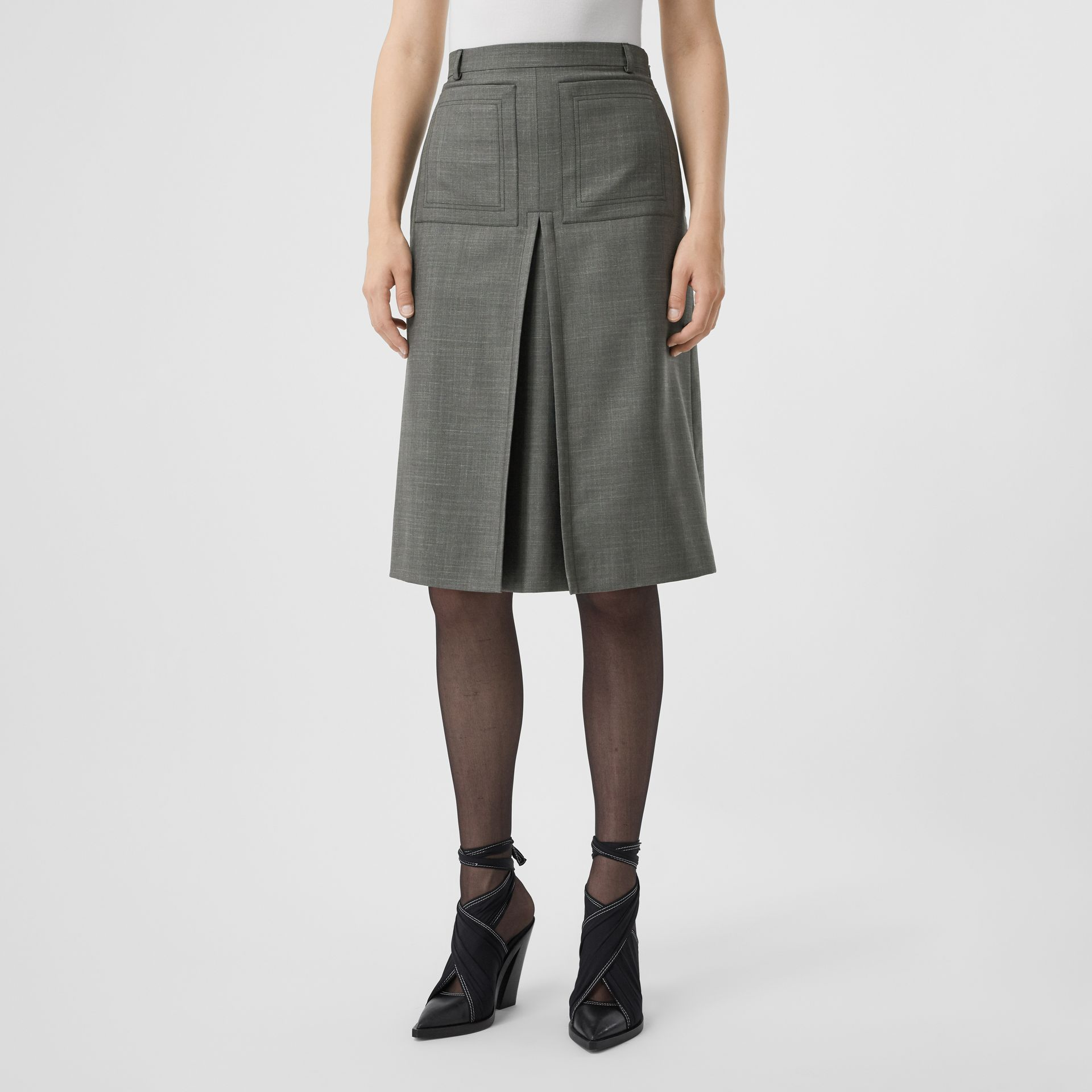 Box-pleat Detail Wool Silk Blend A-line Skirt in Charcoal Grey - Women | Burberry - gallery image 4