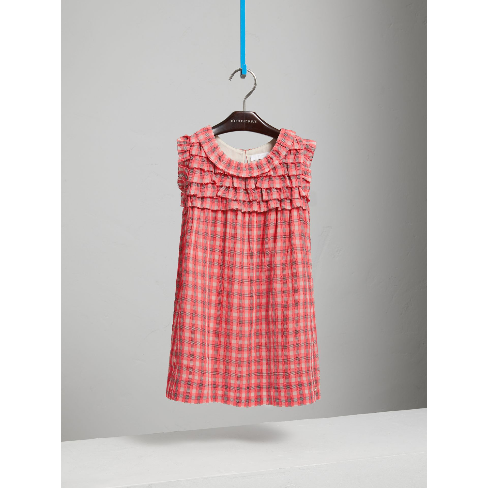 Sleeveless Check Seersucker Dress in Bright Coral Pink - Children | Burberry - gallery image 0