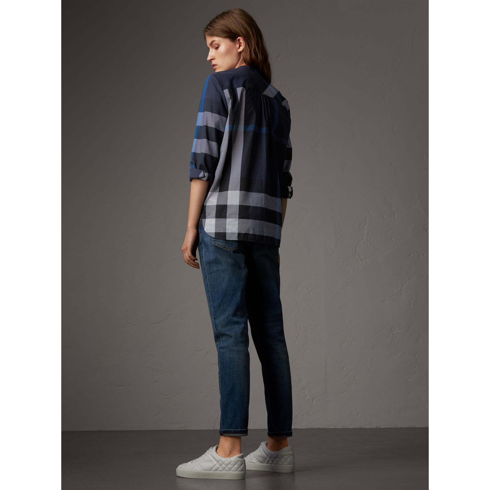 Check Grandad Collar Shirt in Navy - Women | Burberry United Kingdom - gallery image 2