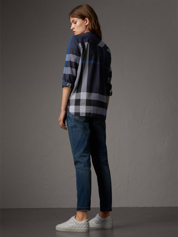 Check Grandad Collar Shirt in Navy - Women | Burberry United Kingdom - cell image 2