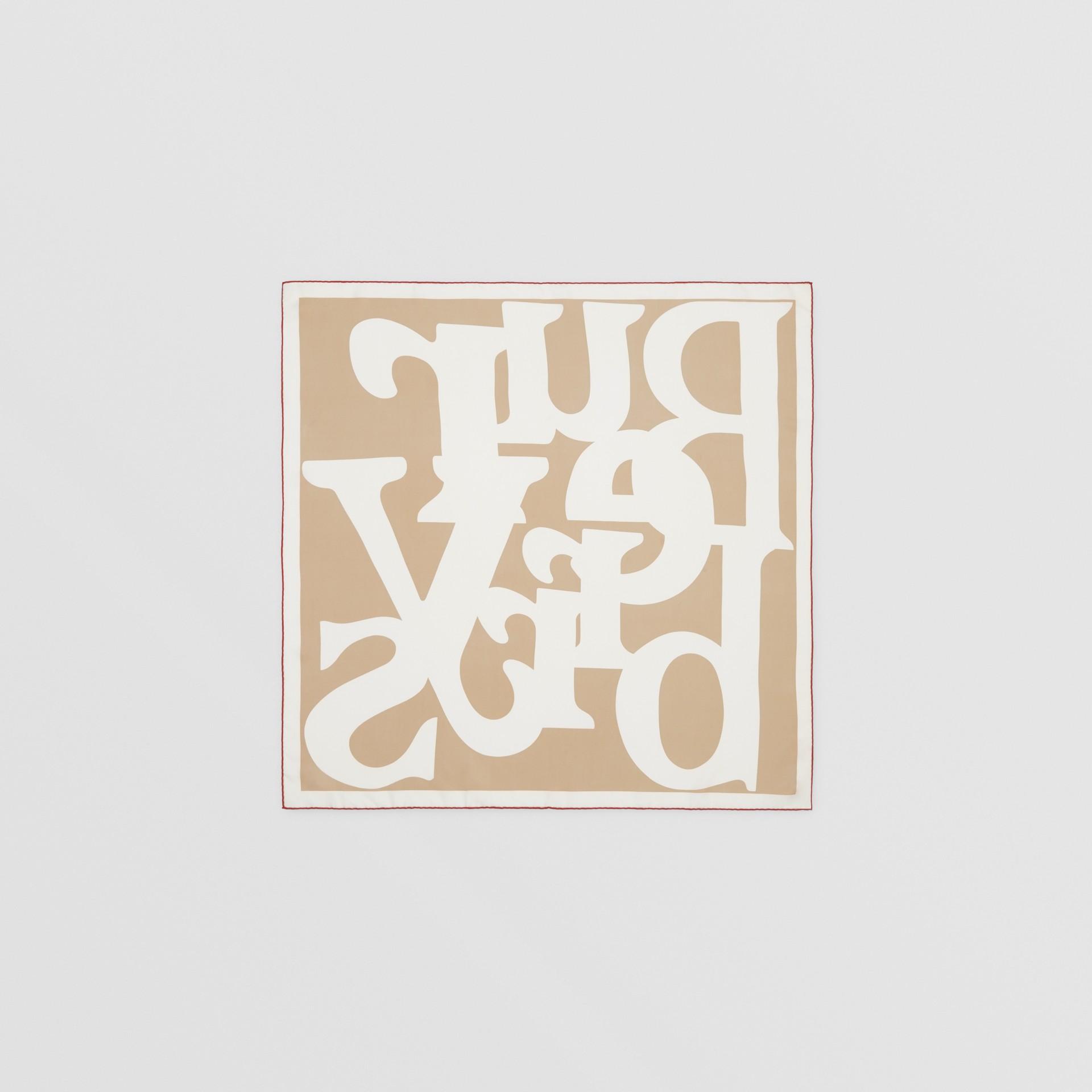 Archive Logo Print Silk Square Scarf in Burgundy/beige | Burberry United Kingdom - gallery image 3