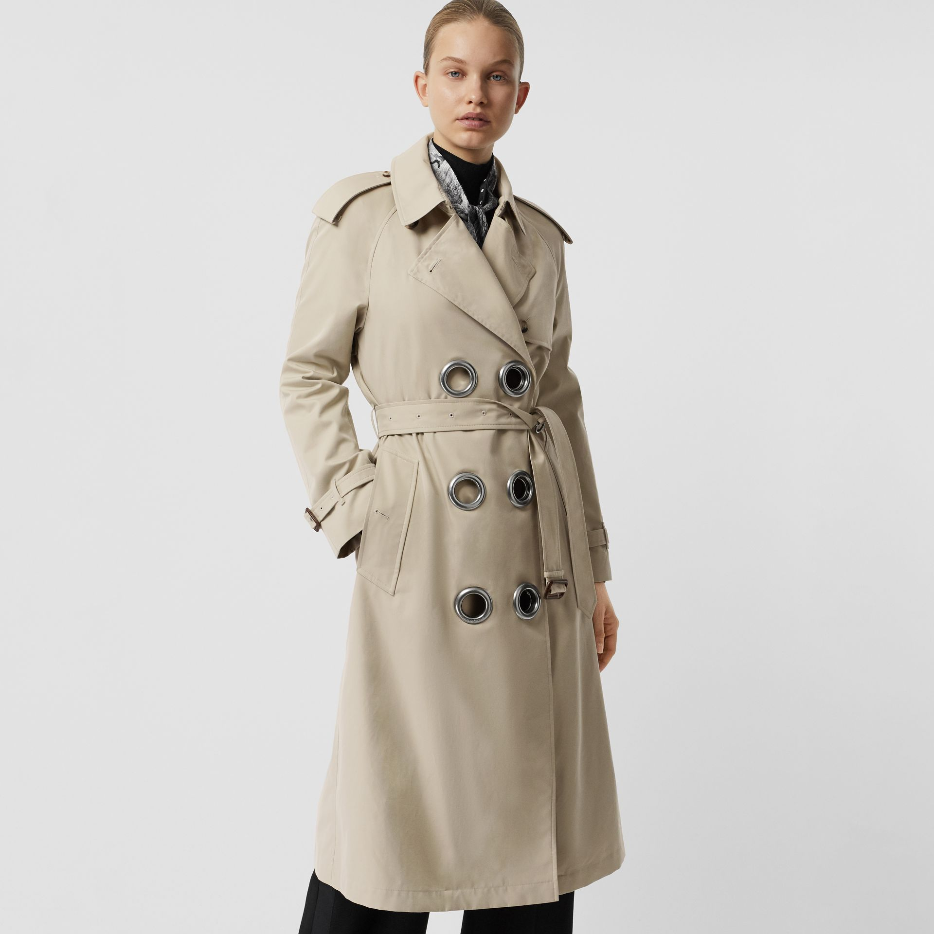 Grommet Detail Cotton Gabardine Trench Coat in Stone - Women | Burberry - gallery image 7