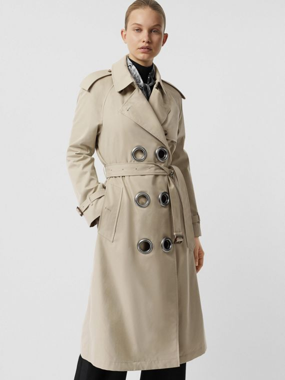 Grommet Detail Cotton Gabardine Trench Coat in Stone