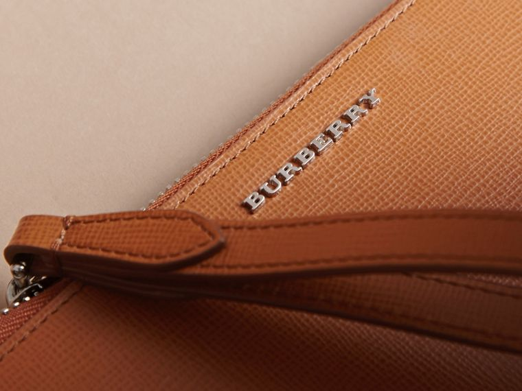 London Leather Travel Wallet in Tan | Burberry - cell image 1