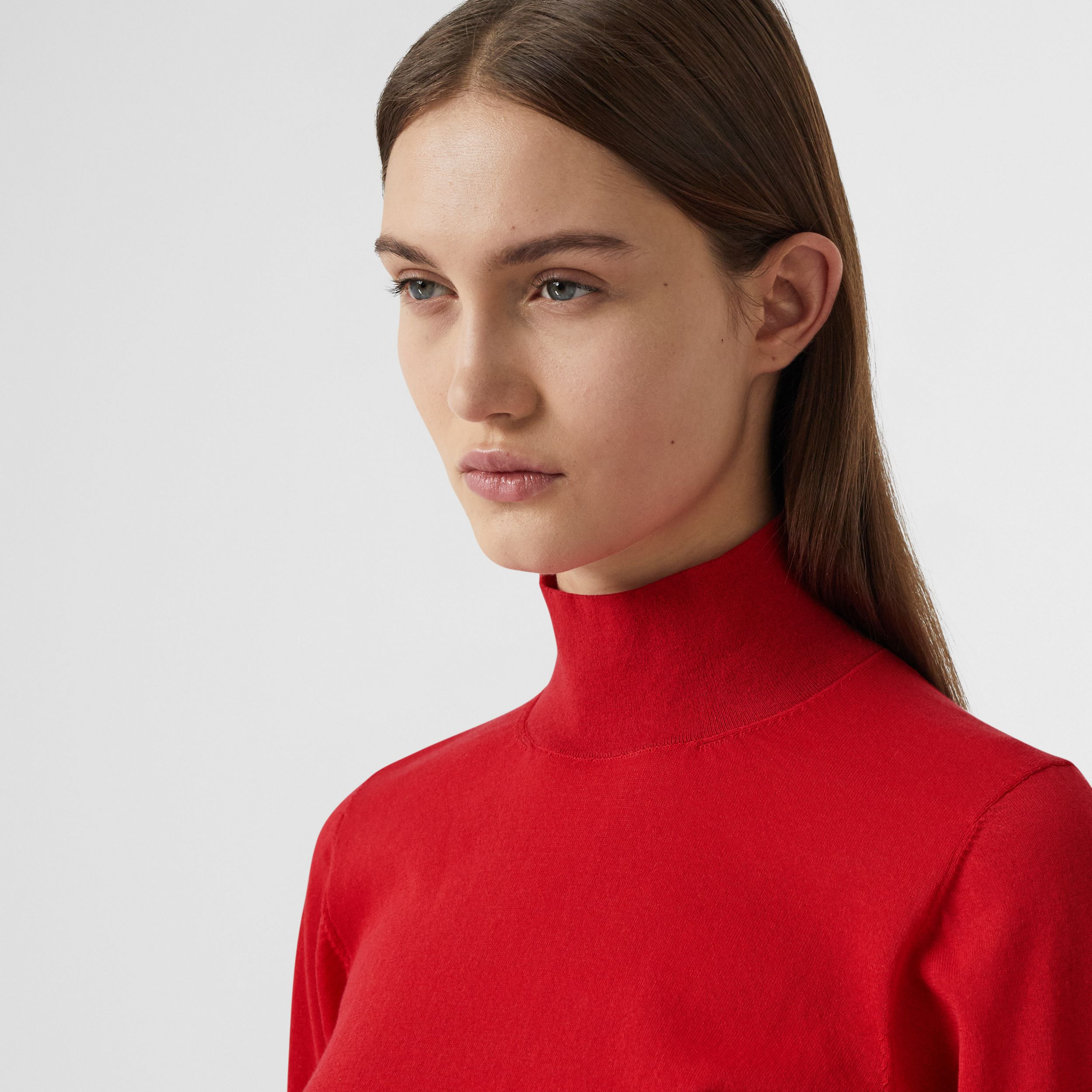 Puff-sleeve Knit Cotton Blend Turtleneck Sweater in Bright Red - Women | Burberry - 2