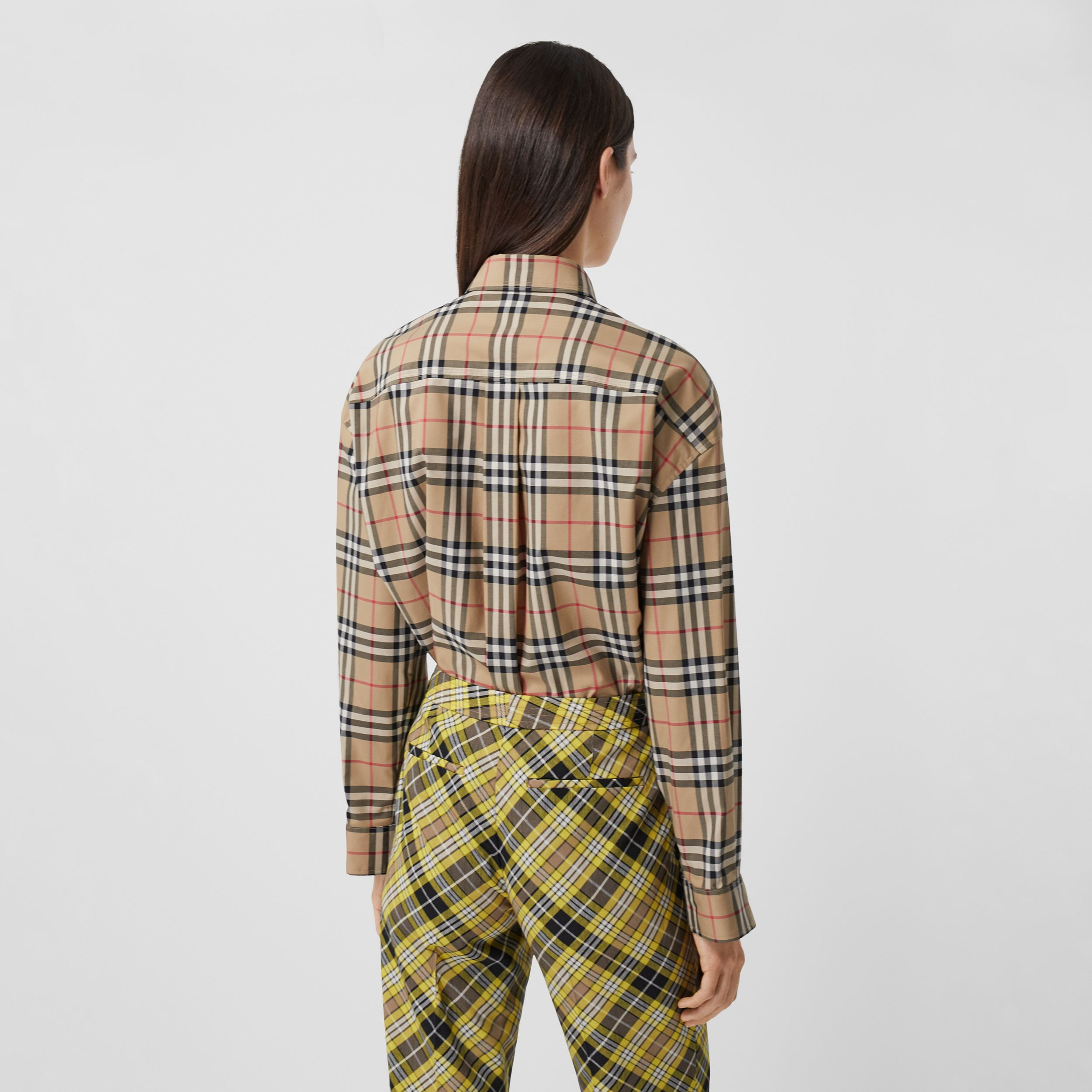 Love Print Vintage Check Cotton Oversized Shirt in Archive Beige - Women | Burberry - 3