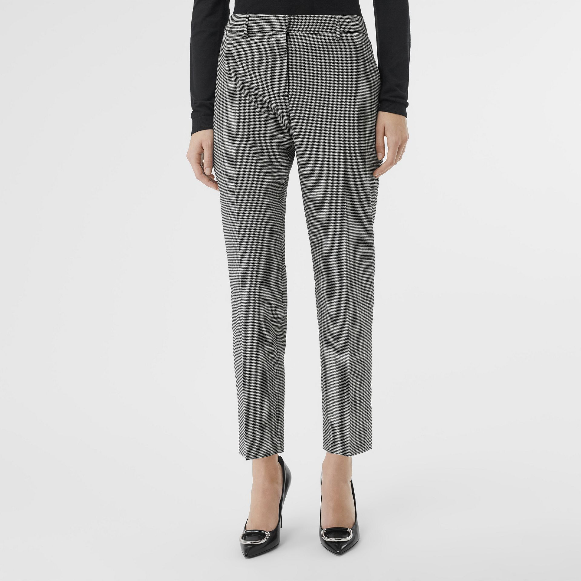 Houndstooth Check Wool Cropped Tailored Trousers in Black - Women | Burberry - gallery image 0