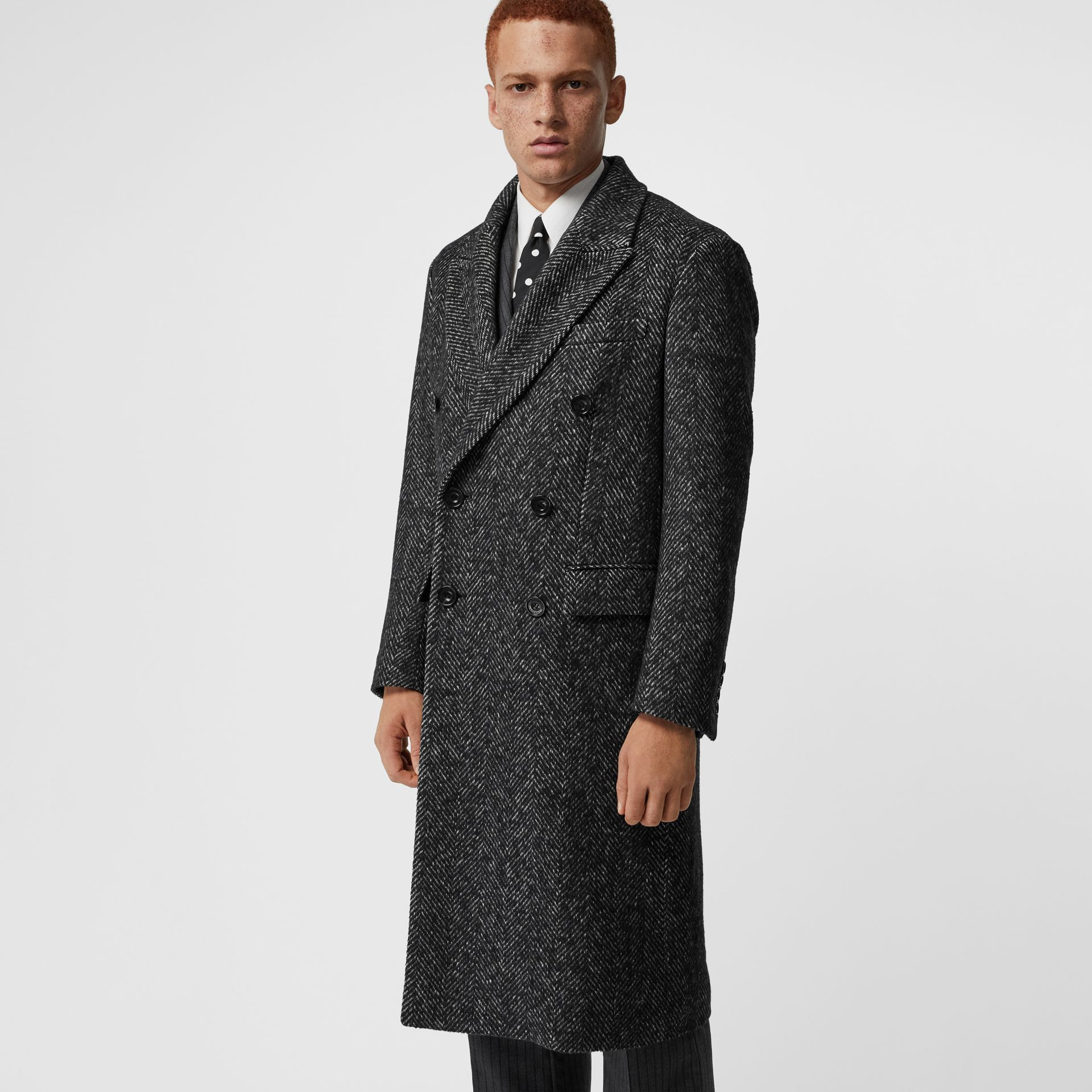 Detachable Shearling Collar Wool Silk Blend Coat in Black - Men | Burberry - gallery image 5