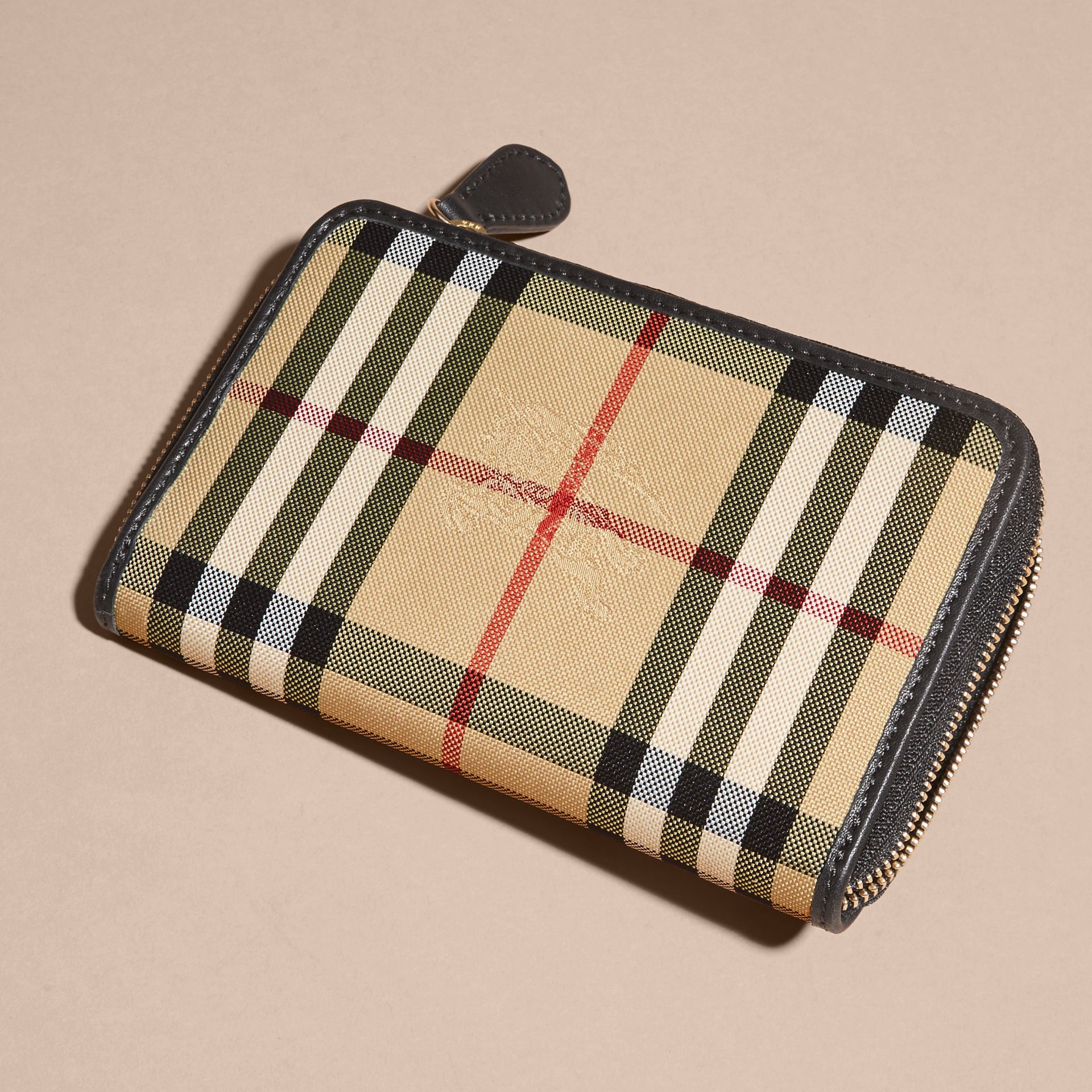 Medium Horseferry Check and Leather Ziparound Wallet - gallery image 4