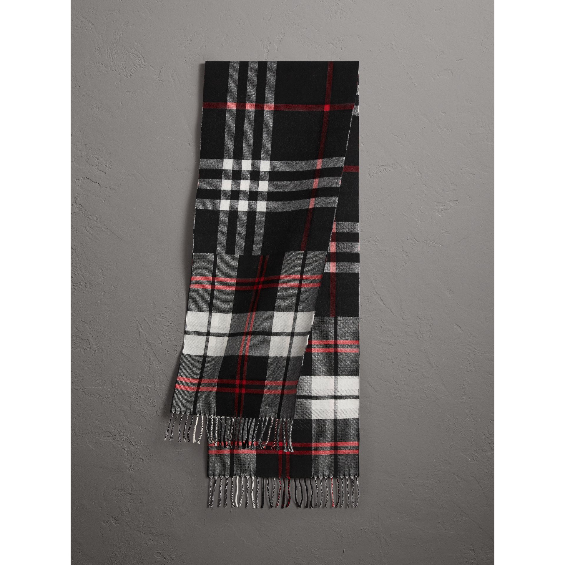 Check Merino Wool Scarf in Black | Burberry United States - gallery image 1