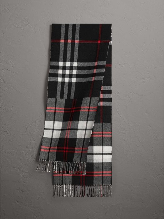 Check Merino Wool Scarf in Black