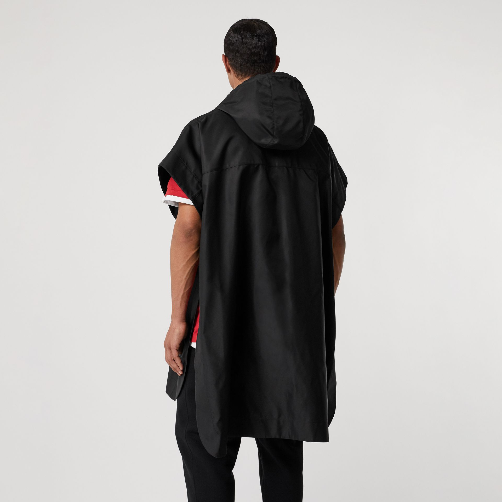 Monogram Motif Nylon Oversized Hooded Poncho in Black | Burberry - gallery image 14