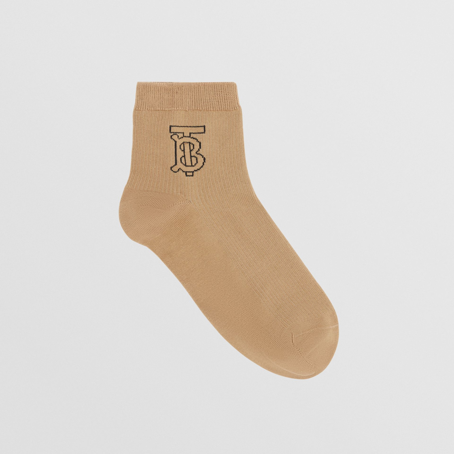 Monogram Intarsia Socks in Archive Beige | Burberry - gallery image 0