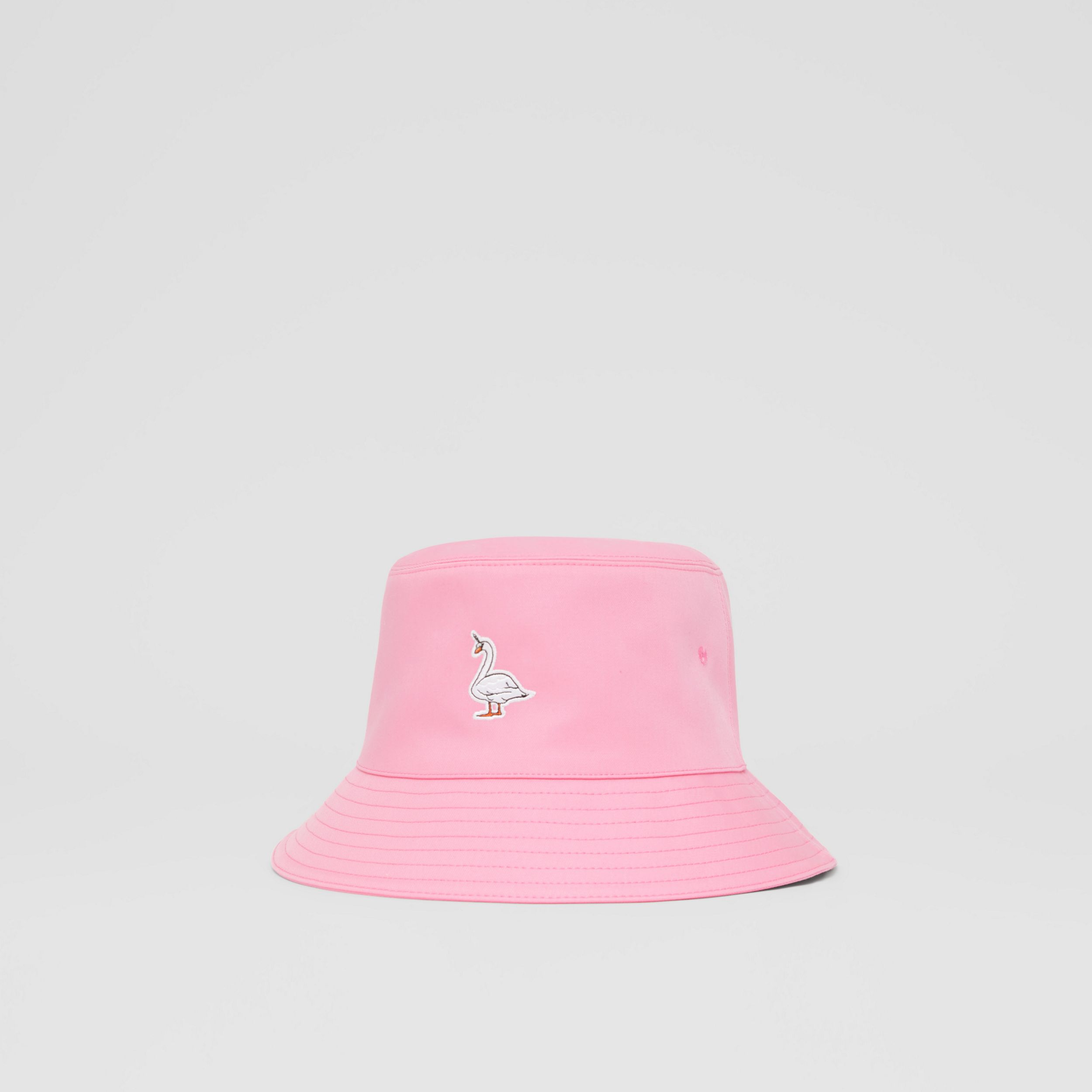 Swan Appliqué Cotton Twill Bucket Hat in Bubblegum Pink | Burberry United States - 4