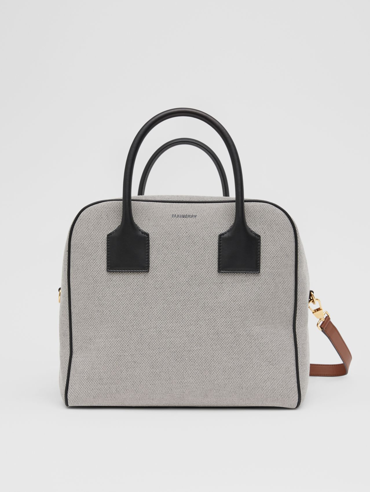 Medium Canvas and Leather Cube Bag in Black/tan