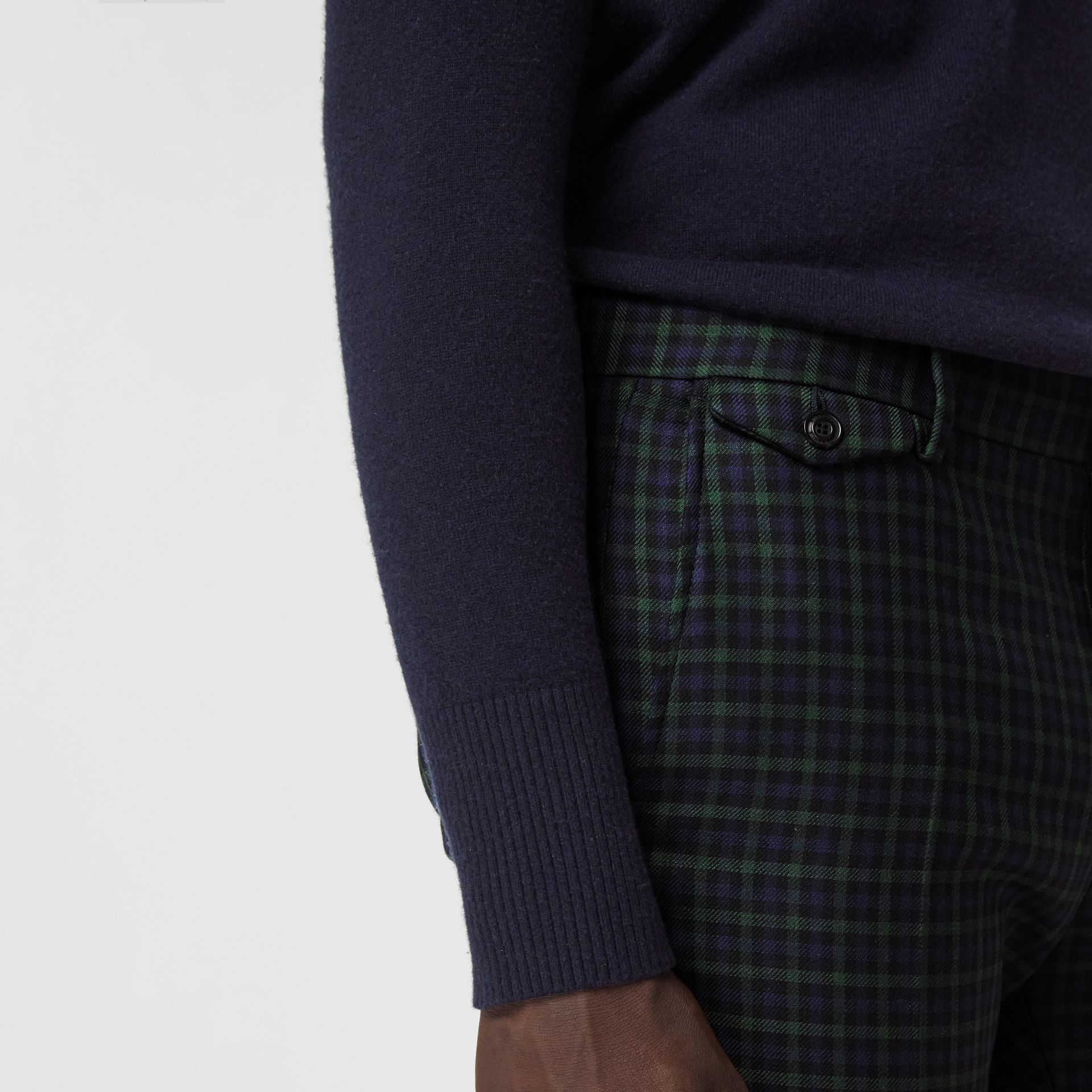 Slim Fit Tartan Wool Tailored Trousers in Navy - Men | Burberry - gallery image 1