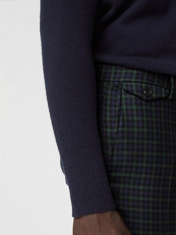 Slim Fit Tartan Wool Tailored Trousers in Navy - Men | Burberry United States - cell image 1