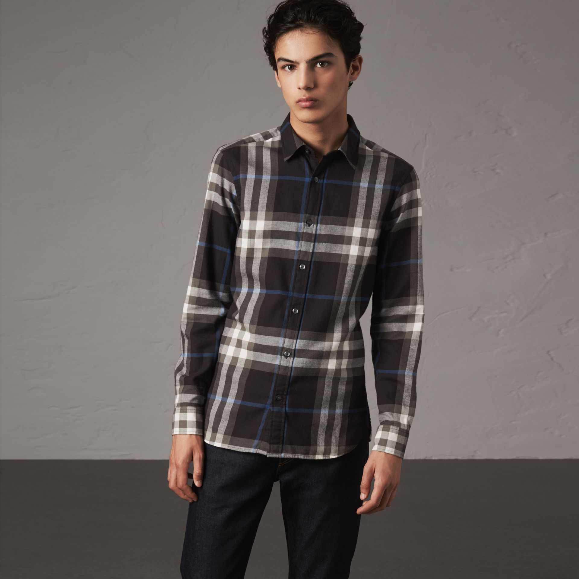 Check Cotton Flannel Shirt in Black - Men | Burberry Australia - gallery image 0