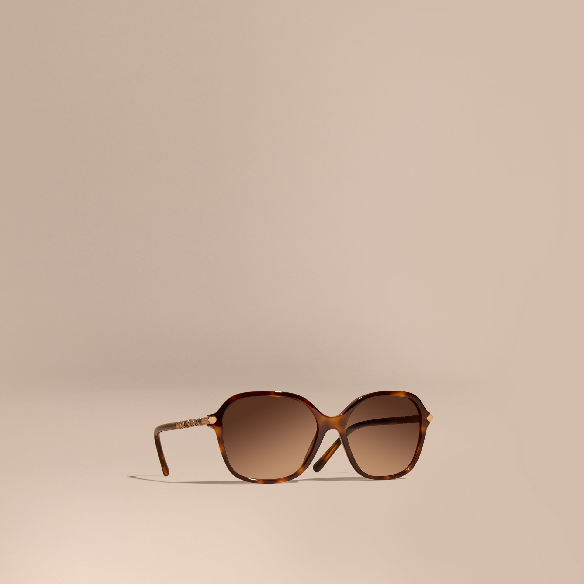 Check Detail Round Frame Sunglasses Light Russet Brown - gallery image 1