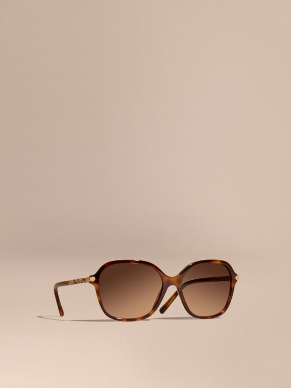 Check Detail Round Frame Sunglasses Light Russet Brown