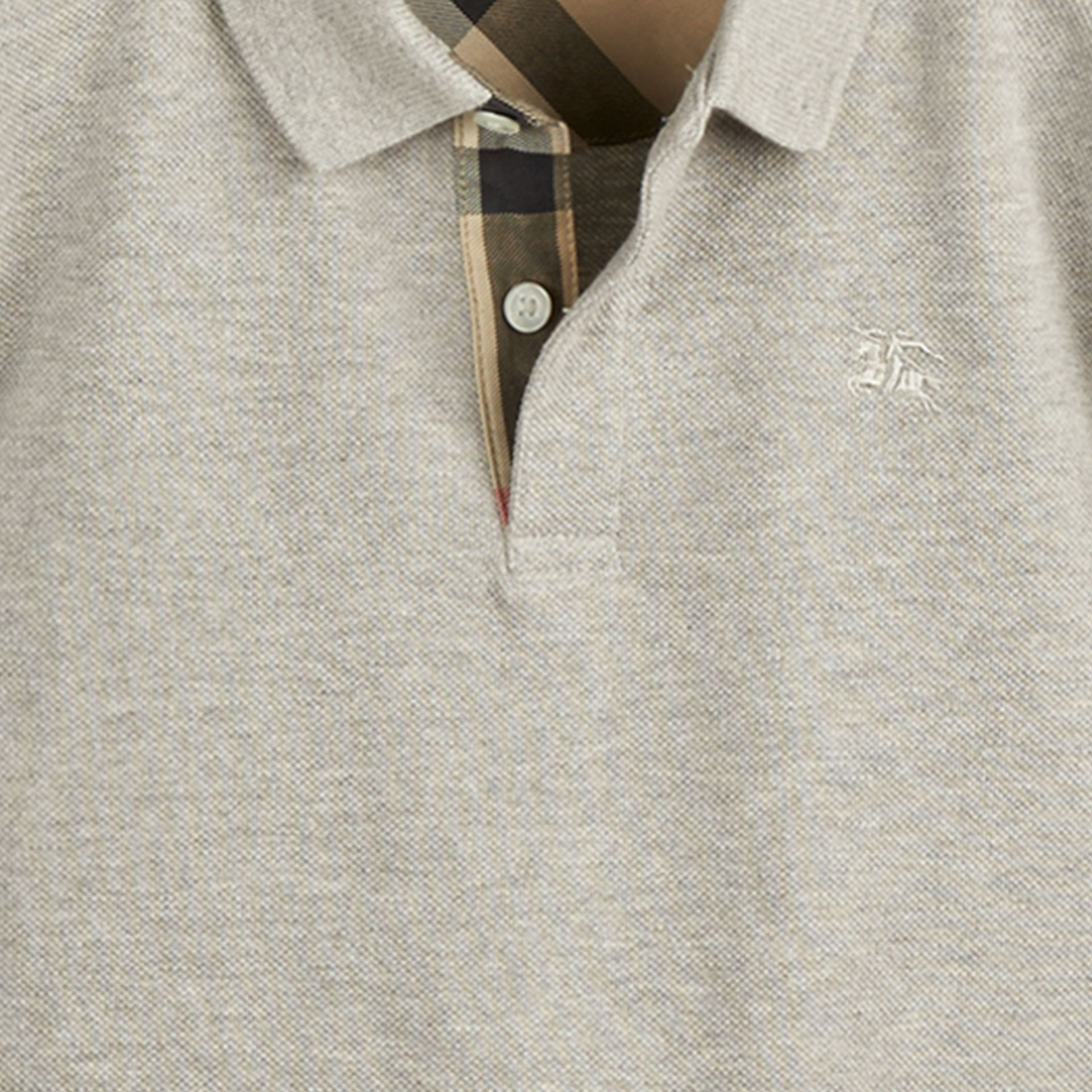Pale grey melange Check Placket Polo Shirt Pale Grey Melange - gallery image 2