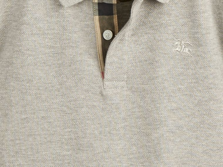 Check Placket Polo Shirt in Pale Grey Melange - Boy | Burberry - cell image 1